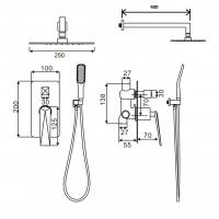 Душевая система Boheme Venturo 384-W Белый/Золото