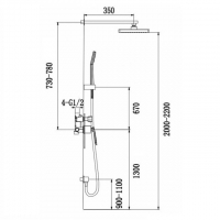 Душевая система TIMO встроенная Helmi SX-4069/00-16SM Хром-Белый